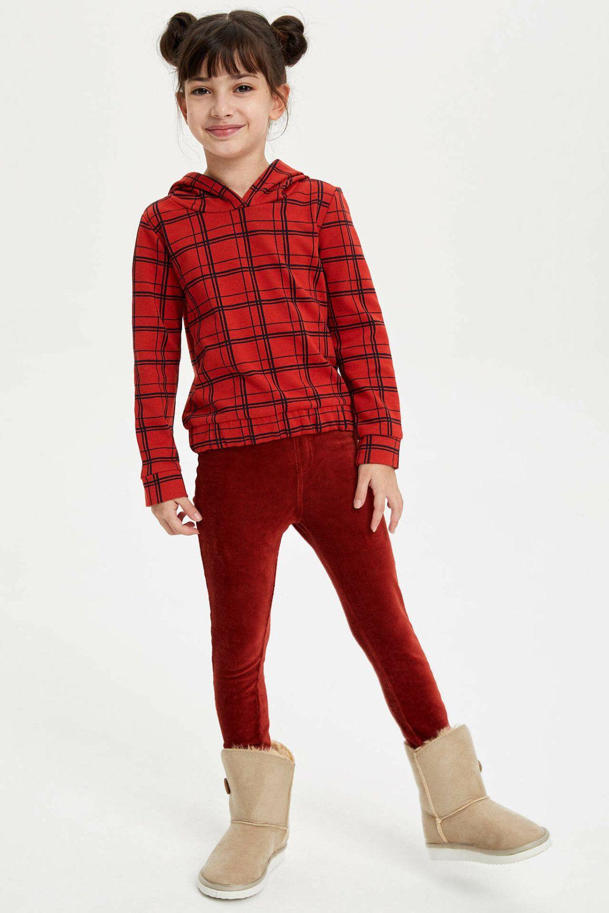DeFacto Casual Girl Leggings Kids Fashion Elastic Waist Long Pants High Quality Skinny Pure Color Pants New -H6991A619AU