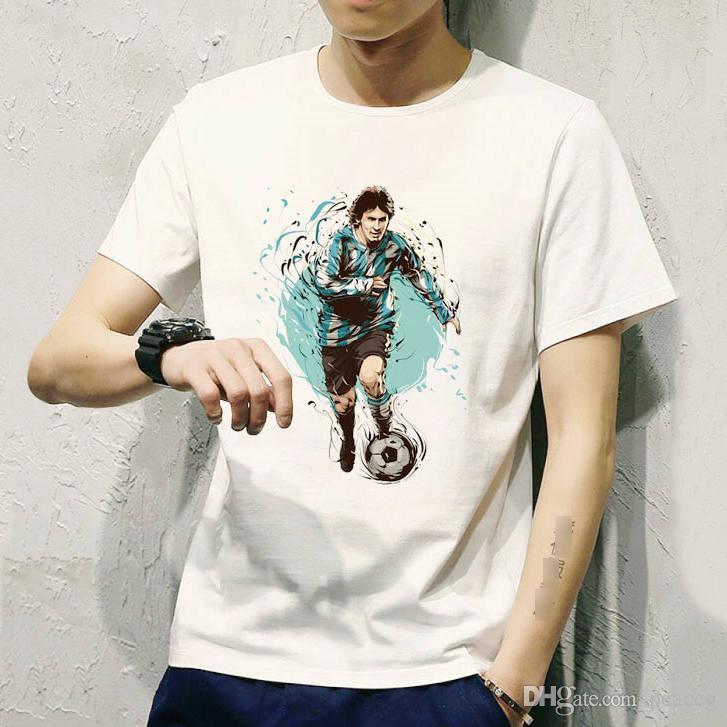 Dribbling t shirt Lionel Messi run short sleeve tees Argentina player tops Football singlet Colorfast clothing Elastic modal tshirt