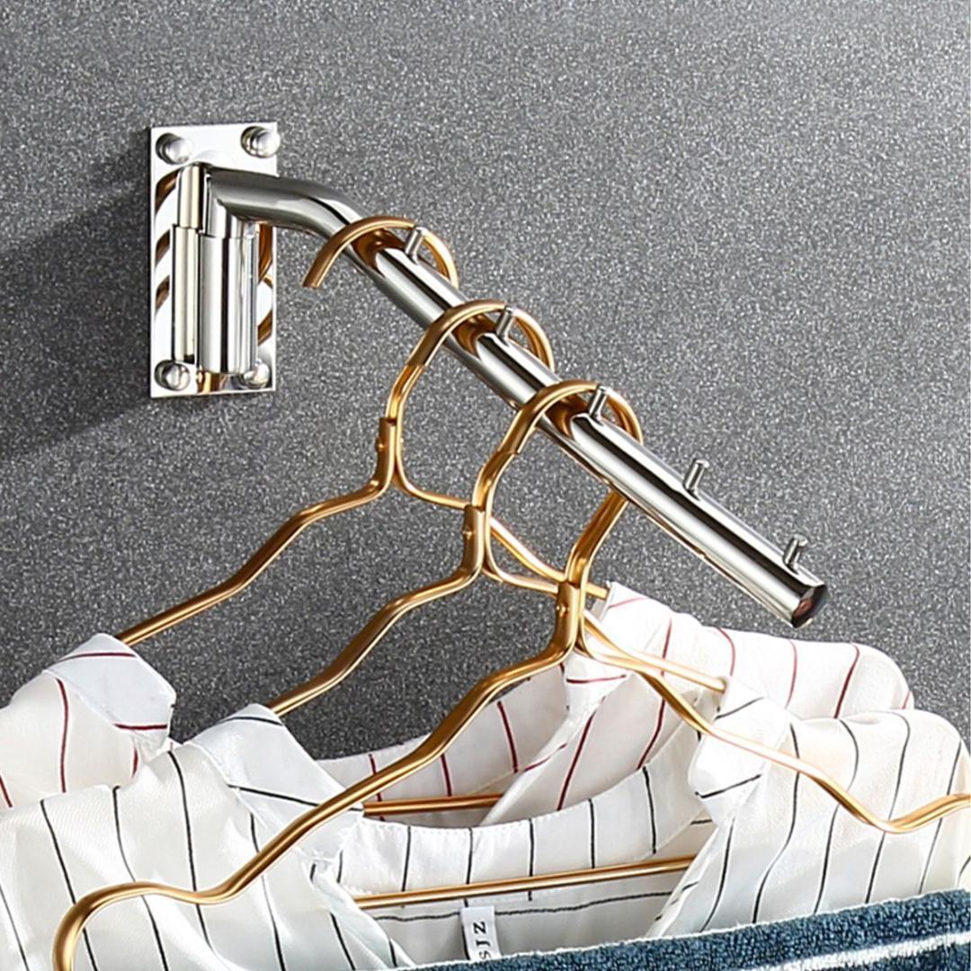 Perchero de ropa montado en la pared Gancho de ropa plegable Organizador de acero inoxidable con placa de montaje del soporte del brazo oscilante al azar