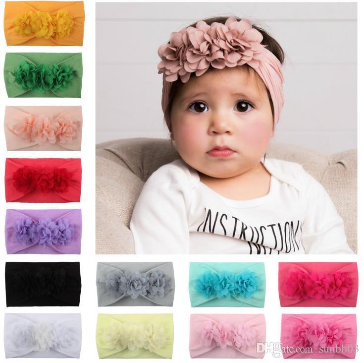 New Europe Fashion Infant Baby Nylon Headband Flowers Kids Wide Elastic Hair Band Children Princess Headwear Hair Accessory 14505