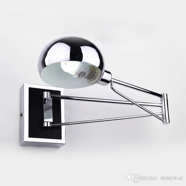 Lámparas de pared LED modernas Lámpara de pared simple para la cabecera de la cama Con un interruptor más tenue Chrome Flexibilidad Lámparas de pared Luz de lectura Iluminación interior