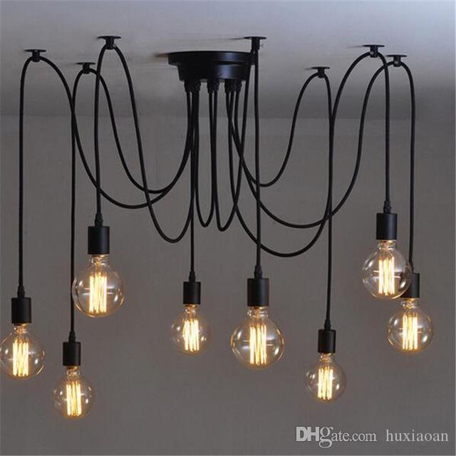 E27 Vintage Spider Led Ceiling Light Mutil Arms Lustres Pendant Lamps with Loft Adjustable Lamparas Fixture Illumination Lustre de Plafond