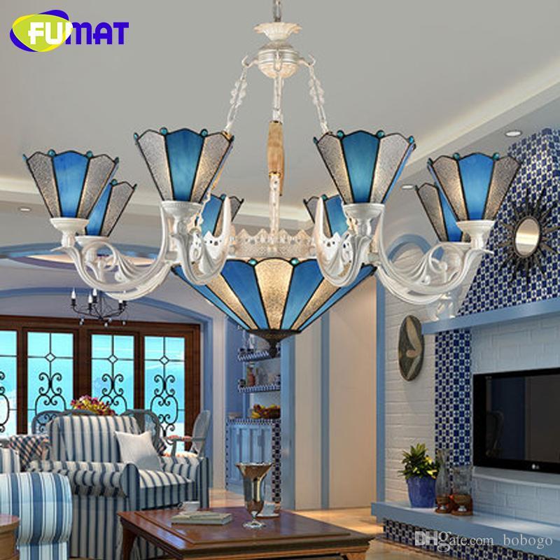 Fumat الحديثة الثريات الشمال المتوسط الأزرق زجاج الثريا أضواء الإضاءة داخلي لغرفة المعيشة غرفة نوم الممر