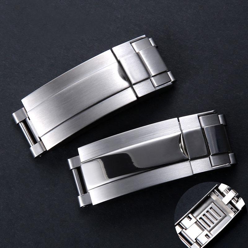 Kostenloser Versand 9mm X9mm NEUE Qualitäts-Edelstahl-Uhrenarmbänder Strap Schnalle Verstellbare Faltschließe für Rolex Submariner Gmt Straps
