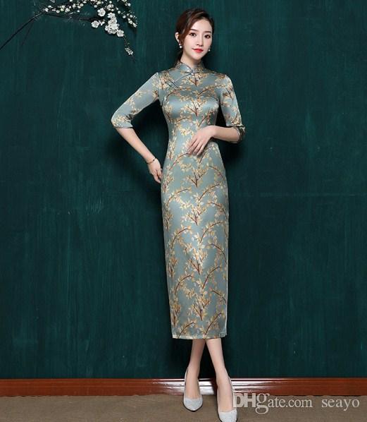 في 2019، ونمط جديد من شيونغسام الحرير مع زراعة الذاتي، وانخفاض طويلة طوق مفتوحة، كم الأوسط شيونغسام، العروس فستان تحية الصيني