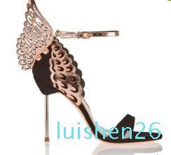 Hot Sale-Sophia Webster Evangeline aile d'ange Sandal plus de mariage en cuir véritable chausseurs Pink Glitter papillon Femmes Sandales Chaussures 26L