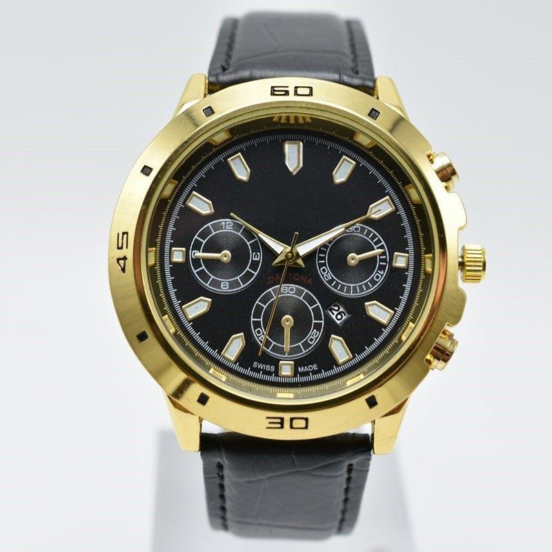 In vendita 40 millimetri in pelle di quarzo cassa in oro tondo moda uomo orologi giorno data analogici uomini abito designer orologio all'ingrosso regali da uomo orologio da polso