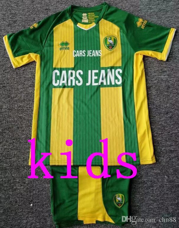 2020 Kit de niños ADO Den Haag Inicio Niños Fútbol 19/20 Niño Traje de ADO casa uniformes de fútbol jersey + shorts no pueden imprimir