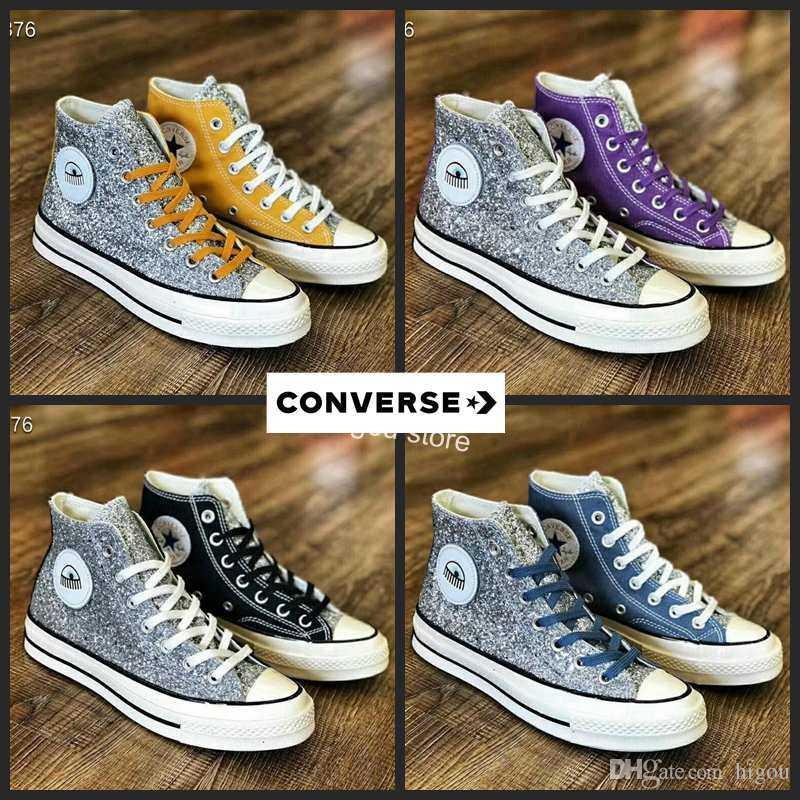 Converse All Star X Chiara Ferragni Chuck Sequin Big Eyes Designer Silver Running Shoes Canvas Chuck Casual Toylar Sneakers Chaussures Nude Shoes