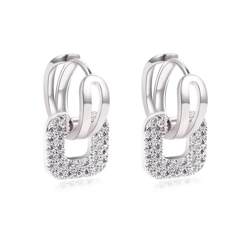 LNRRABC Cristal Place Argent Or Rose Acier inoxydable Couleur Boucles d'oreilles Accessoires pour Bijoux Femmes Mode cadeau Brincos