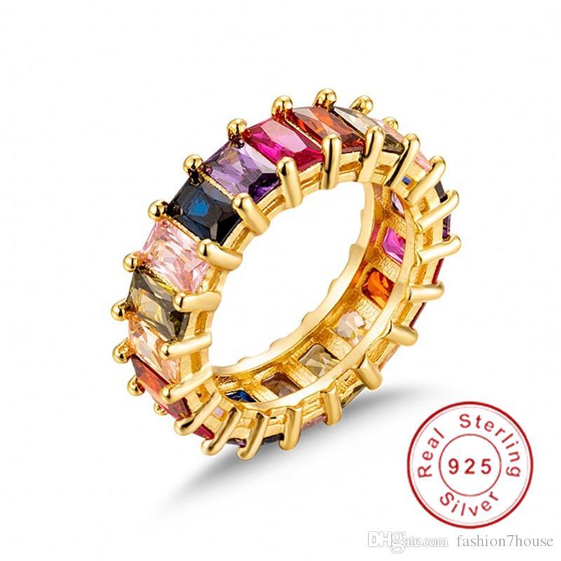 Eterno Radiant cortar SAPPHIRE RUBY PERIDOT Kunzita TOPAZ PAVE dedo CONFIGURAÇÃO Gemstone 925 SILVER noivado casamento banda de anel