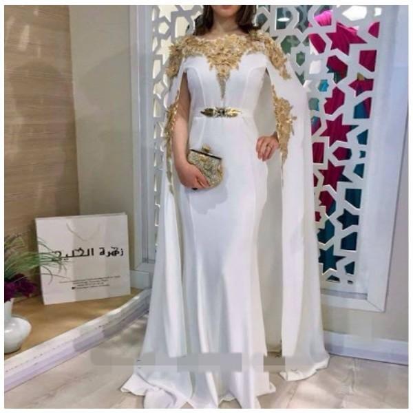 Blanc marocain Kaftan sirène bal équipe de soirée or 3D fleurs dentelle femmes arabes musulmanes Appliques Occasion spéciale fête officielle