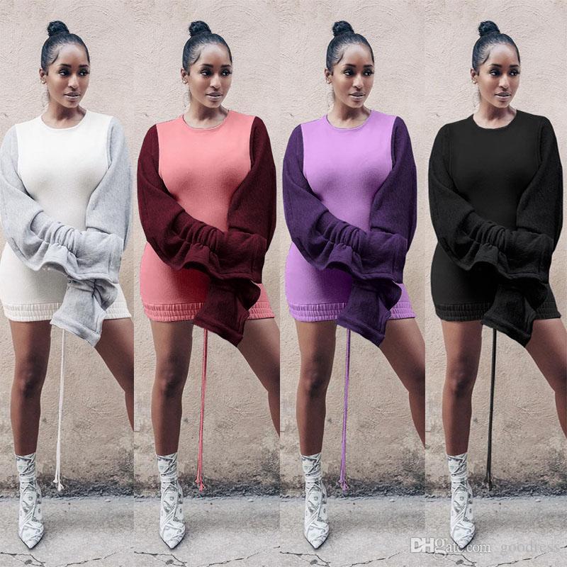 Mulheres Fall inverno mini vestido camisola engrossar fleece cordão plissado escavar manga comprida vestidos de retalhos pullover mais roupa de tamanho
