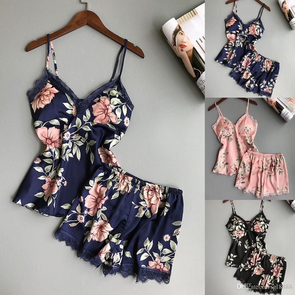 2pcs женщин Sexy атласные кружева белье Babydoll Lingerie Nightdress пижама Set