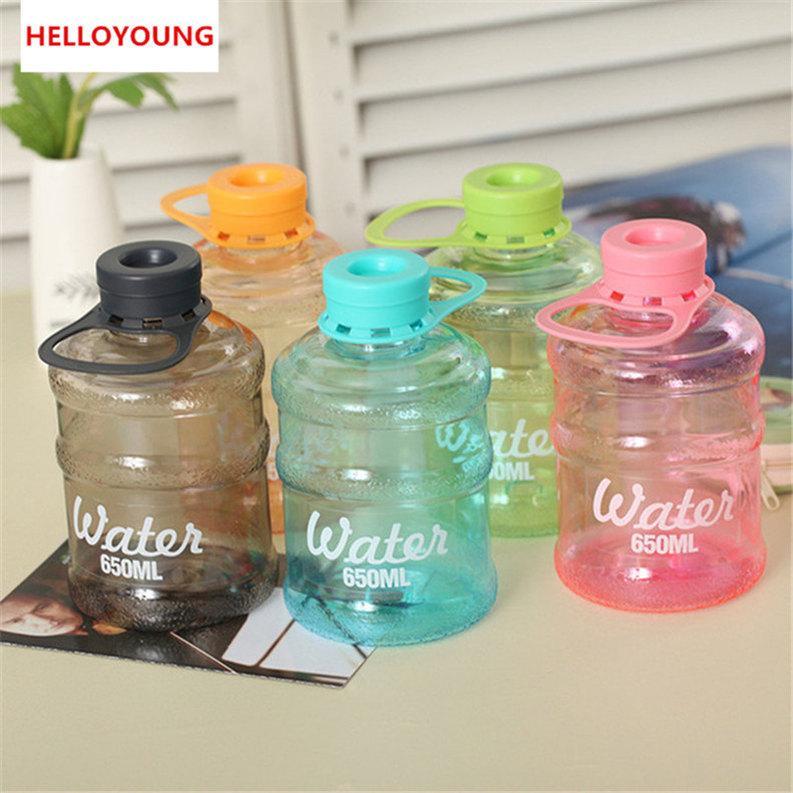 Şişelenmiş su şişesi Plastik taşınabilir 650 ml İçme şişe Drinkware kolayca şişe Sıcak Satış