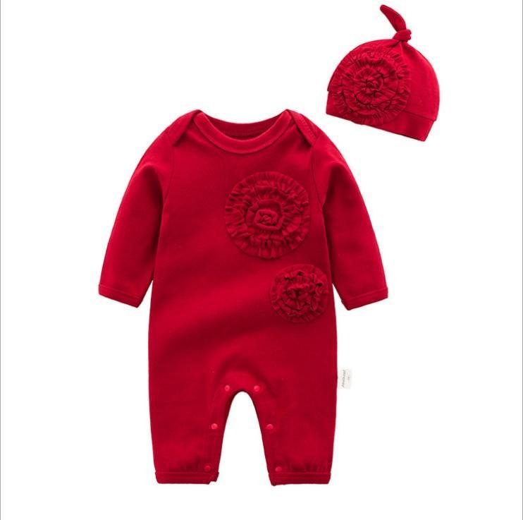 2019 manga larga para bebés de algodón mameluco otoño Renacido bonito de las muchachas de flor de la princesa de Borgoña Mono con el sombrero de los niños del mameluco del Conjunto