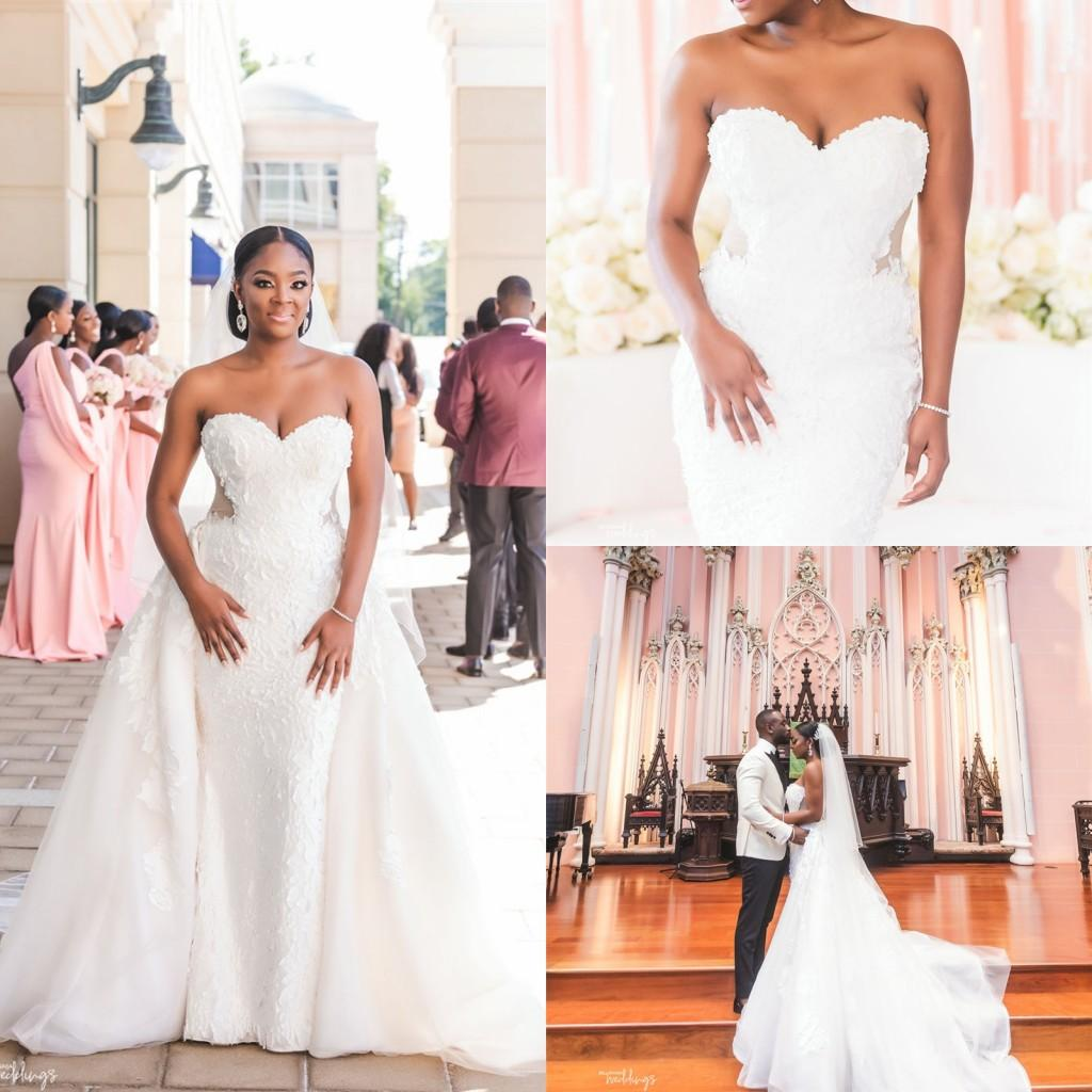 Luxury 2020 Beaded Lace Wedding Dresses With Detachable Train Sweet Heart Applique Ivory Plus Size African Mermaid Bridal Gowns