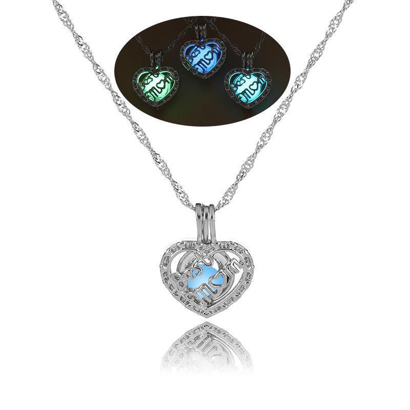 Nueva luminoso MOM colgante de corazón abierto que brilla en las cadenas de plata de los granos oscuros jaula Locket encanto para las mujeres joyería día de las señoras de la madre regalo