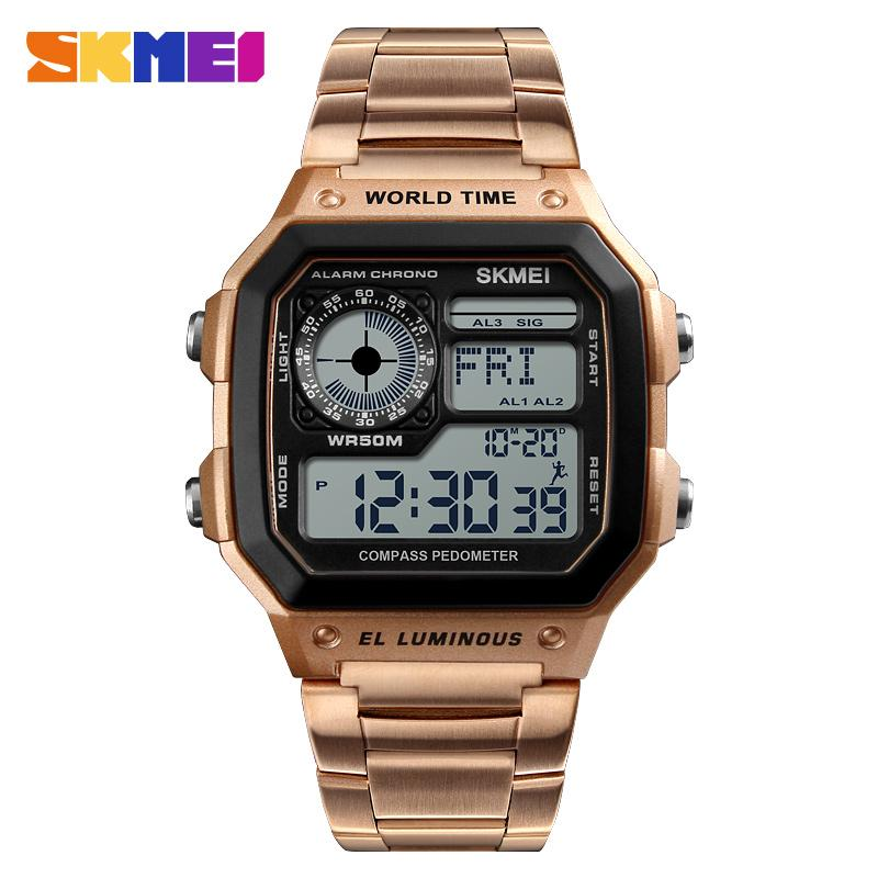 SKEMI Homens Outdoor Multipurpose Compass Assista Moda Casual Waterproof Sports Step Counter 3Alarm Relógio de pulso Relógio masculino