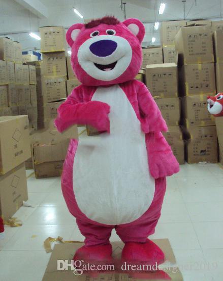 2018 Vente directe d'usine EMS Livraison Gratuite Outfit Costumes Costume Costume De Mascotte Ours Rose Pour Adultes Voir