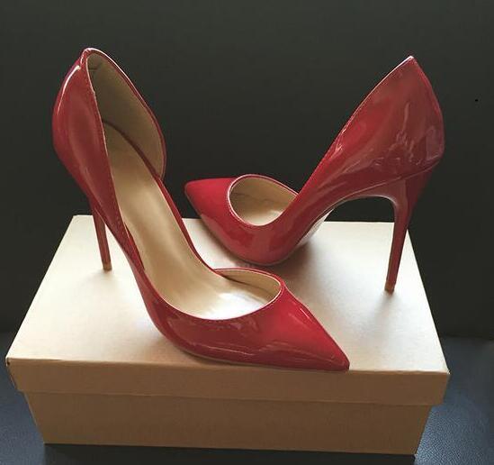 Бесплатная доставка 2020 мода женщины насосы обнаженная лакированная кожа сексуальная леди пуанты носок туфли на высоких каблуках размер 33-44 12 см 10 см 8 см красный низ обуви