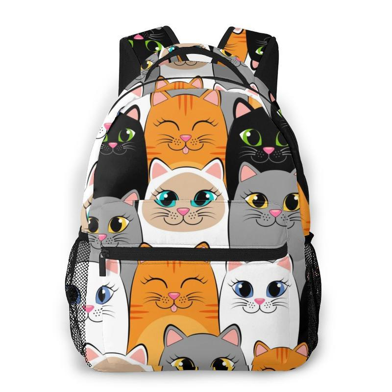 Mochila Kids School bolsa para niñas Gris Blanco Negro Ginger siameses gatitos Gatos portátil Mujer Mochila Morral del recorrido 2020