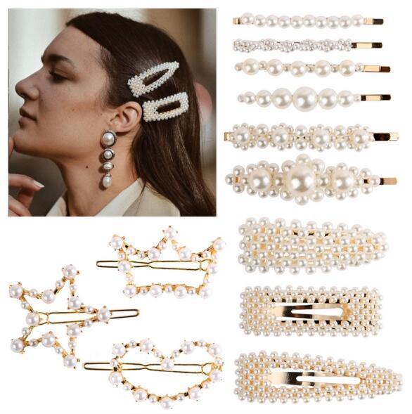 Pearl Hairpin Set Women Hair Clips Sweet Elegant Bobby Pins BB Side Clips Barrettes Headwear Ladies Fashion Accessories Hair Jewelry 2019