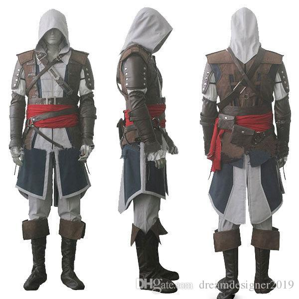 Mascote Assassino Creed IV 4 Bandeira Preta Edward Kenway Traje Conjunto Completo Custom Made Express Shipping