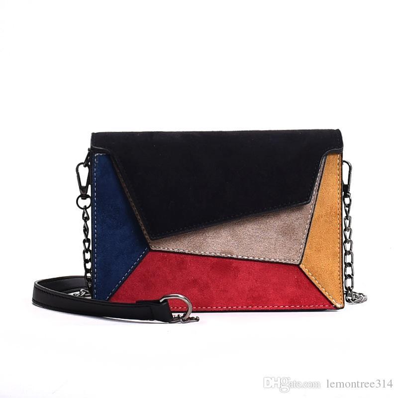 Bolsos de hombro coloridos de las mujeres Suede Casual Cadena Bolsa Niñas Crossbody Bolsa Moda Mini monedero Flap Bag JY13