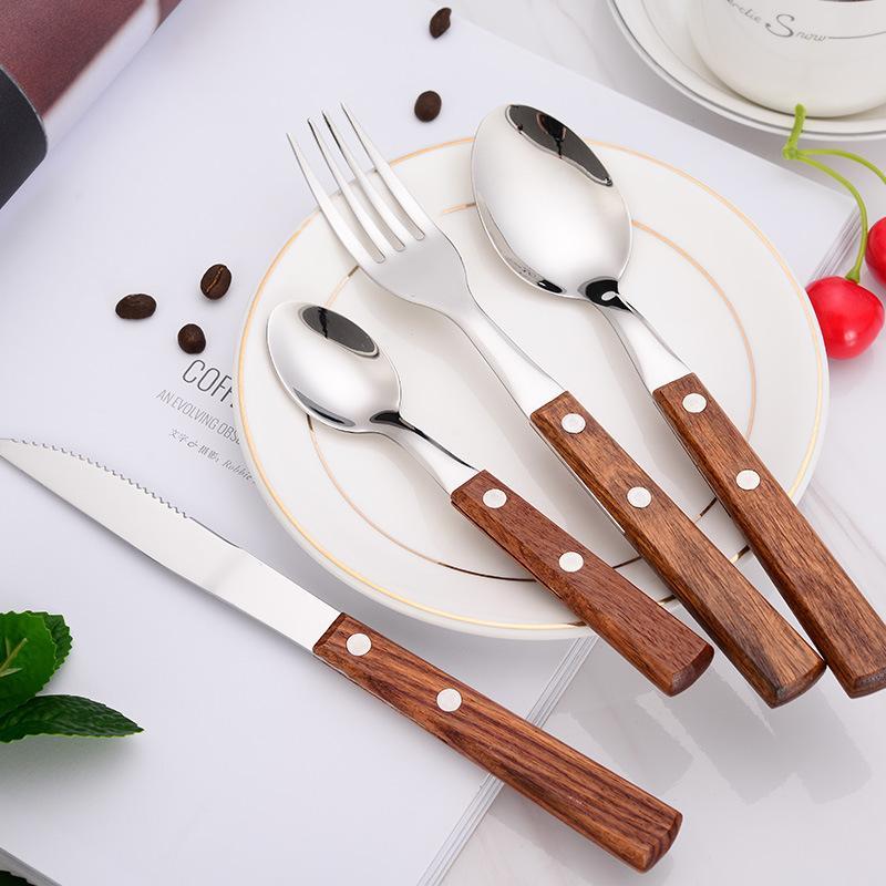 Manico in legno Dinnerware Set portatile occidentale Coltello in acciaio inox forcella da tavola Posate Cucina Sala Steak Cake Knife