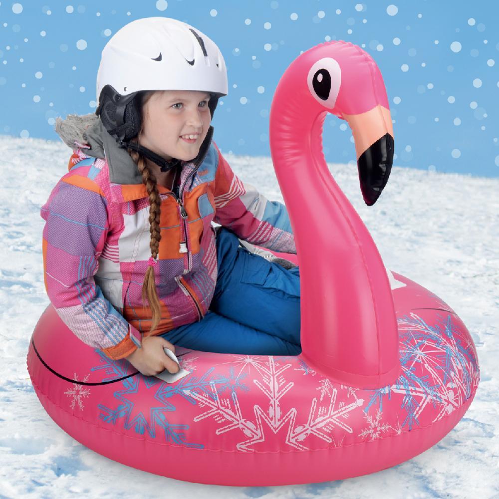 Tubo de Neve de Esqui Flamingo Para Adultos Crianças Inflável Neve Trenó Com Válvulas Rápidas Lawn Praia Ao Ar Livre Brinquedos Escorregadios Piscina Flutuante