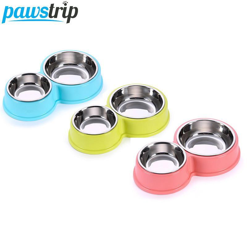 Pawstrip مزدوجة الفولاذ المقاوم للصدأ الحيوانات الأليفة تغذية الكلب الغذاء نافورة مياه الشرب جرو الطاعم القط السلطانية Q190523