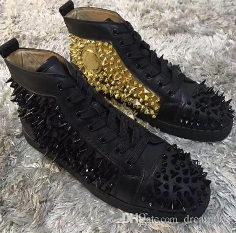 2019 nuevos remaches de cuero genuino zapatillas de deporte inferiores rojos zapatos de los hombres espigas zapatillas de deporte de las mujeres tachuelas ocio vestido de fiesta zapatos de boda