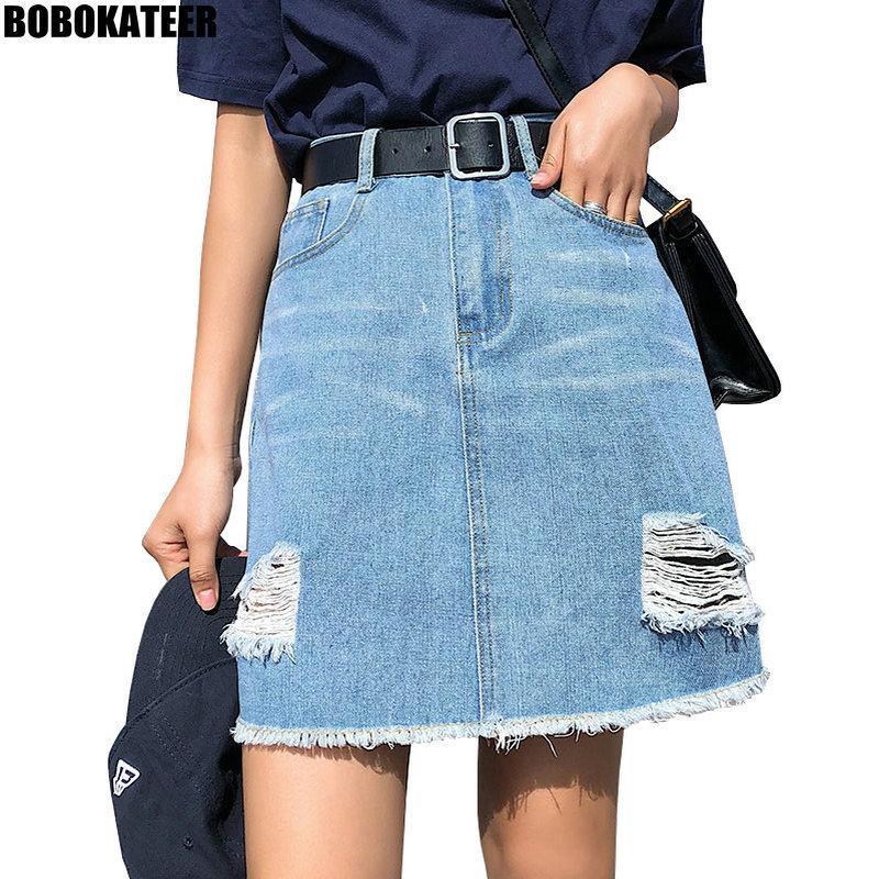 BOBOKATEER Plus Size-Denim-Rock Frauen Röcke für Frauen Sommer Sexy Mini High Waist Schwarz Jean-Rock Weibliche Jupe Falda Mode 2019 CJ200326