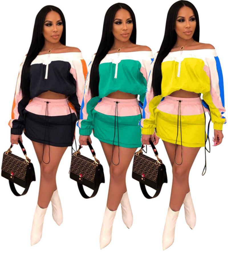 Plus size Women sun block skirt two pieces sets long sleeve coat crop top+short dress solid color dress suits 3381