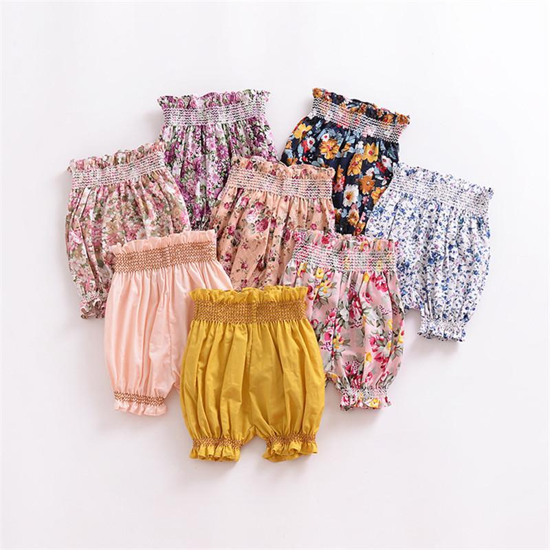 بنات طفل السراويل طفل PP سروال الرضع سروال القطن الصيف الأزهار المطبوعة مطاطا الخصر القصير بنطلون الأطفال ملابس أطفال Y76