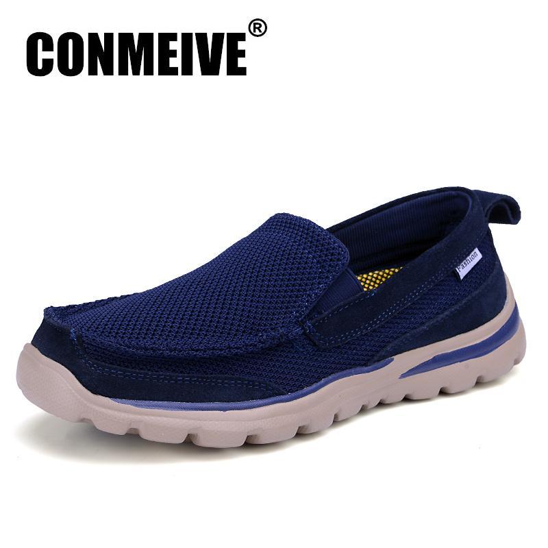CONMEIVE Yaz Ayakkabı Erkekler Rasgele Kayma-on Mesh (hava Mesh) Erkek Yetişkin Loafers Nefes Moda Erkek Sneakers Sıcak Satış