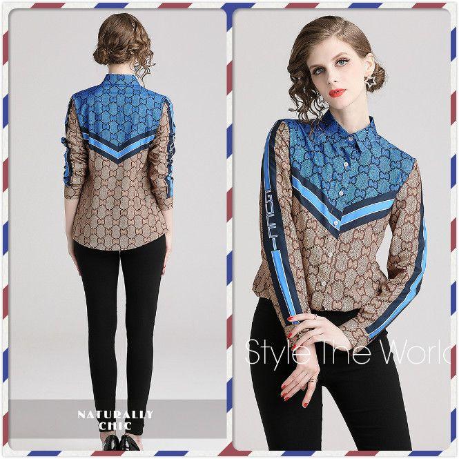 새로운 여성 패션 가을 봄 스트라이프 대비 색 긴 소매 블라우스 Office Lady Sexy Slim Button Front 기하학 프린트 셔츠 탑스
