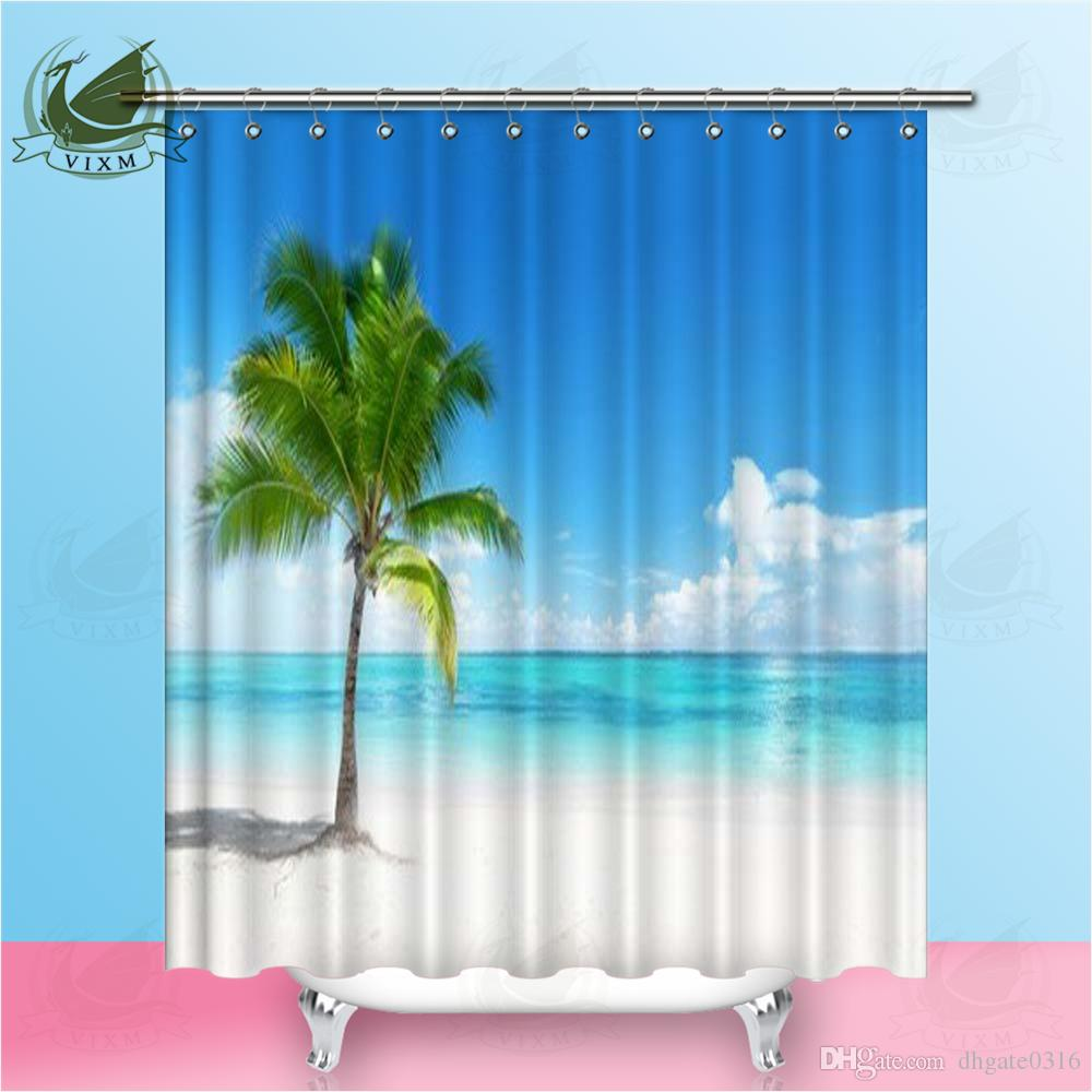 Nature View Polyester Fabric Shower Curtains Beach Palm tree Bathroom Waterproof