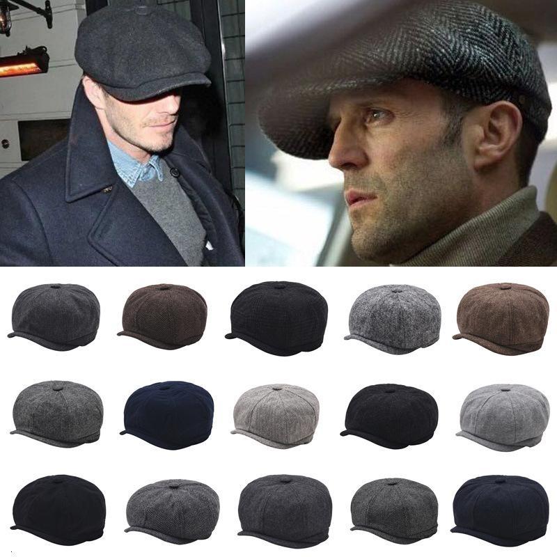 England Peaked Cap You Octagonal Cap Tide Man Woman Wool Wool Beret Painter Cap Season