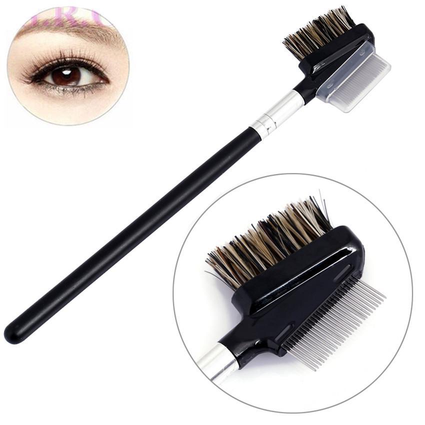 Eyelash brush Eyebrow comb makeup brushes Professional steel teeth dual makeup tool black kabuki wood