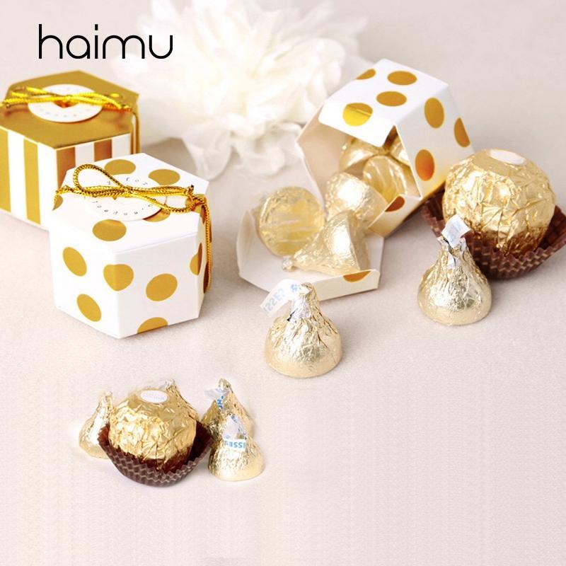 Gold 10pcs Stamping-Punkt-Streifen-Plätzchen Box Verpackung Süßigkeit Schokolade Box Wedding Favor Verpackung Backen Dessert-Geschenk-Kästen