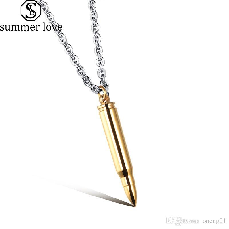 Fashion Bullet Necklace New Men Necklace Stainless Steel Bullet Pendant Necklaces For Buyer Own Engraving Jewelry DIY