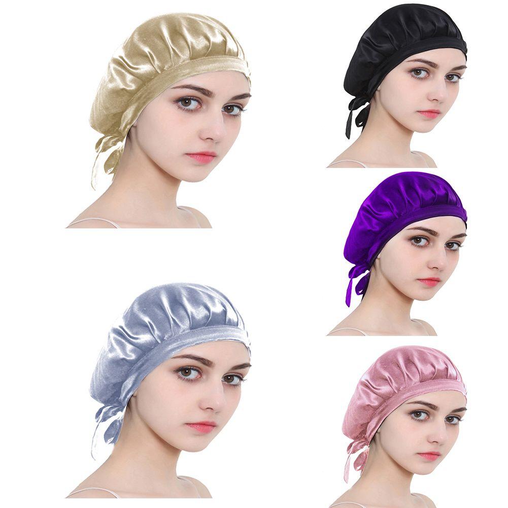 Seda Noche Cap Hogar Dormir Cubierta de la cabeza del sombrero del pelo largo de la mujer de la toalla