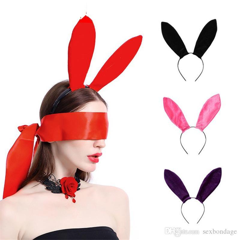 Terciopelo atractivo del oído del conejito diadema mujeres oídos de conejo diadema Headwear de Cosplay del partido de Navidad de la boda accesorios de la venda del pelo