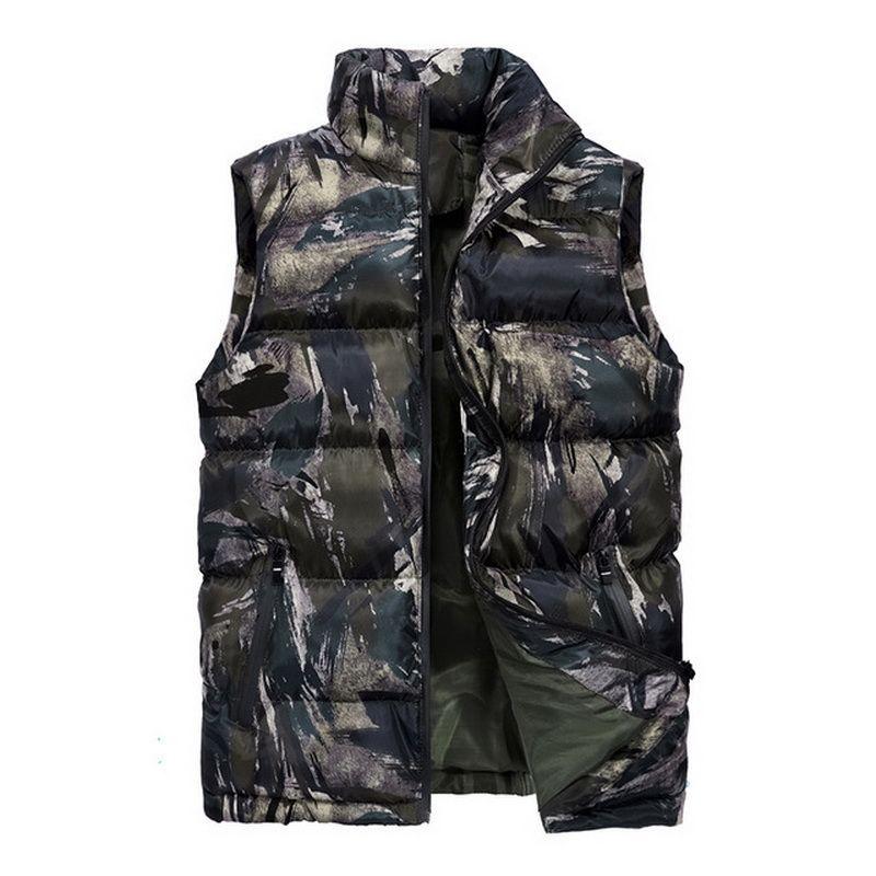 Chalecos para hombres hombres camuflaje chaleco cálido chaqueta sin mangas chaleco fashion casual abrigos talla grande M-5xl