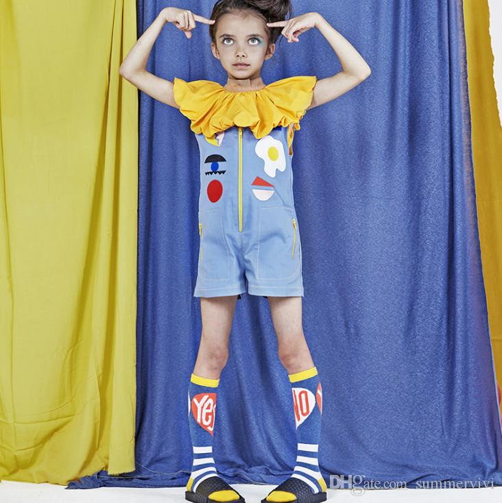 INS Kids cartoon embroidered jumpsuits girls falbala lapel tops children colorful letter embroidery ruffle collar flare sleeve blouse F5125