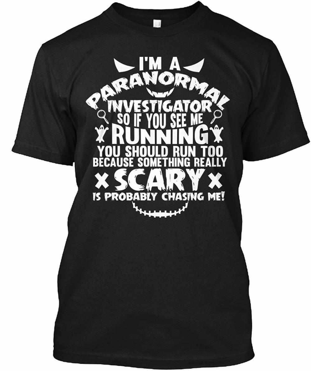 2017 Erkekler T Gömlek Erkekler Moda Marka Tasarım Pretty Pamuk Genç ben Bir Paranormal Araştırmacı Erkek Moda Pamuk T Gömlek Gevşek
