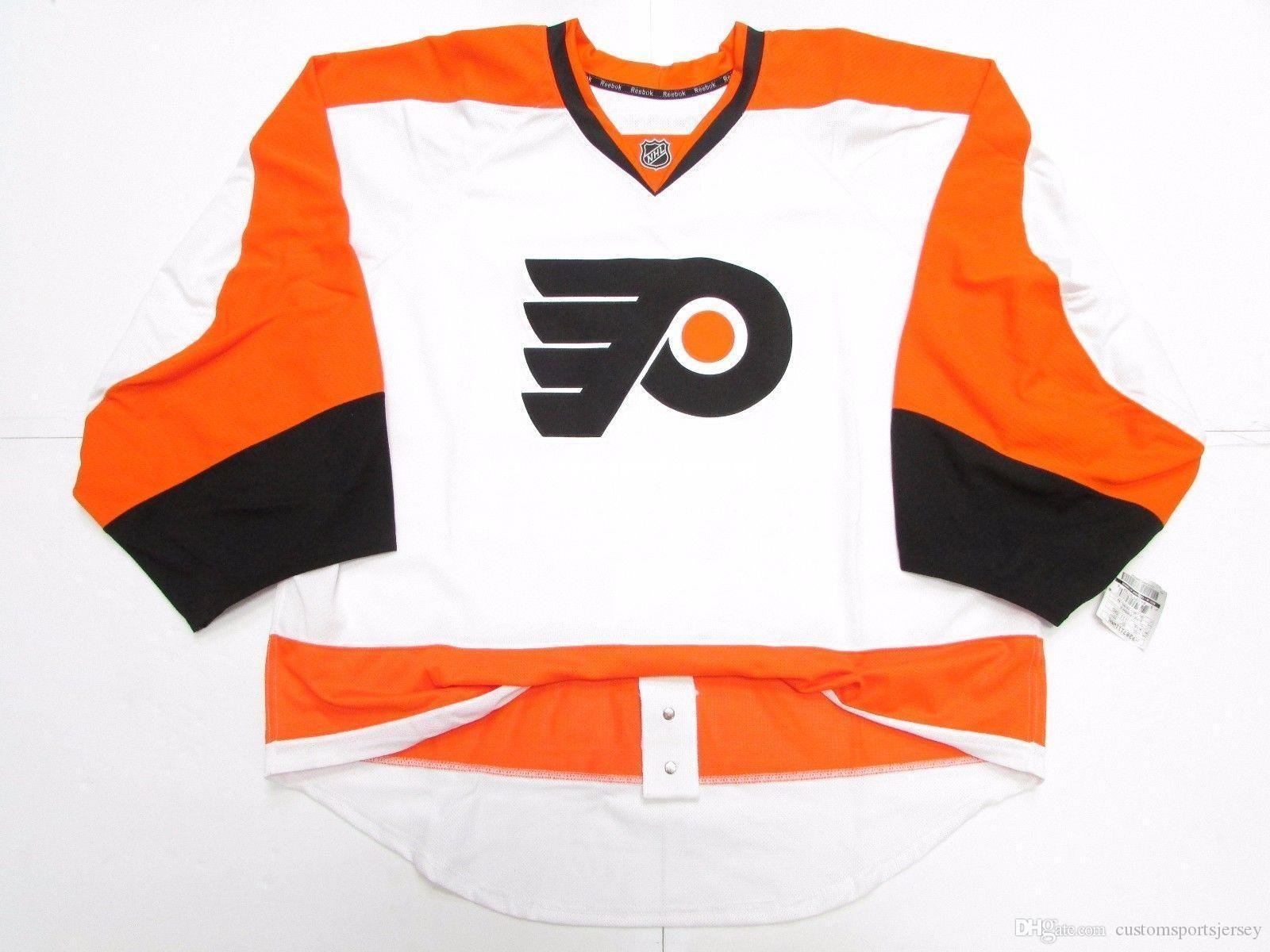Günstige benutzerdefinierte Philadelphia Flyers JERSEY GOALIE wegschneiden 58 Stich eine beliebige Anzahl beliebigen Namen der Männer Hockey Jersey hinzufügen