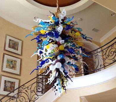 En verre de Murano soufflé à la main gros lustres Éclairages haut plafond décoratif en verre de Murano Multi Color Art Déco pendentif en verre Lampes